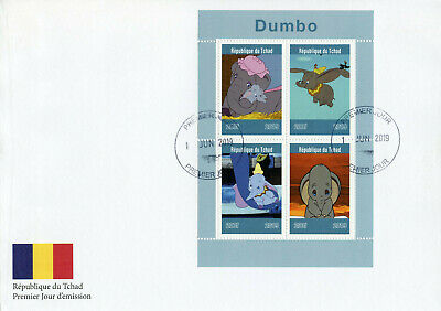 Chad 2019 FDC Dumbo 4v M/S Cover Elephants Disney Cartoons Animation Stamps