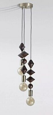 M&S Maddison Cluster  Ceiling Light  Dark Wood And Antique Brass Fabric Cables
