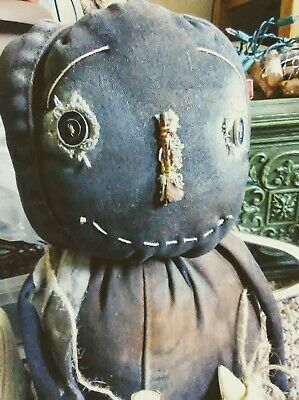 PRIMITIVE RUSTY GRUBBY PUMPKIN BOY DOLL WITH HIS CANDY CORN prim BY Tiffany