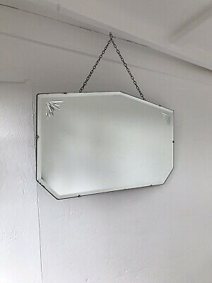 Vintage Frameless Mirror art deco beveled edged frameless Etched mirror Portrait