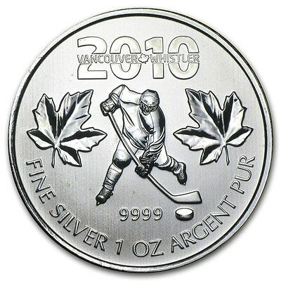 2010 Canadian $5 Maple Leaf Vancouver Olympics Ice Hockey 1 oz .9999 Silver Coin