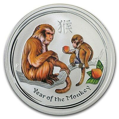 Perth Mint Australia 2016 $ 0.5 Coloured Monkey Half 1/2 oz .999 Silver Coin