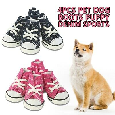 4pcs Pet Dog Boots Puppy Sports Denim Anti-slip Shoes Sneakers For Small Dogs
