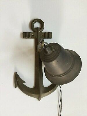 Vintage Brass Nautical Ship's Bell w/ Anchor Mount - Used Outdoors