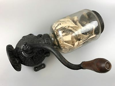 Antique Arcade Crystal No.3 Cast Iron Wall Mount Coffee Grinder No Base or Cup