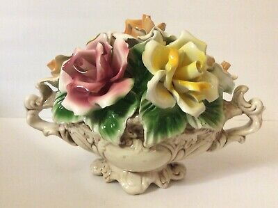 Vintage Large Capodimonte Flower Basket Roses Tabletop Centerpiece Made In Italy