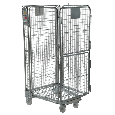 Four Sided Warehouse Roll Cage Container Trolley - Split Gate - 1690mm High.