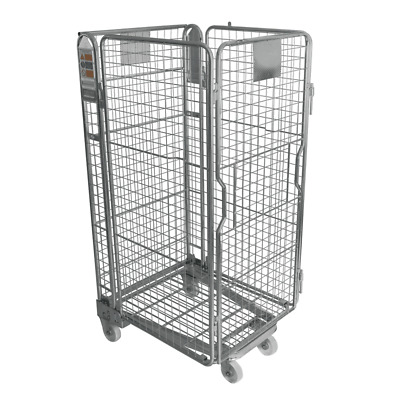 THREE SIDED ROLL Warehouse Roll Cage Container Trolley - Rod