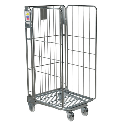 Three Sided Roll Warehouse Roll Cage Container Trolley - Rod Infill 1690mm High