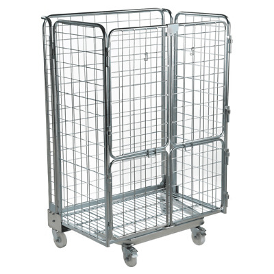 Large Nestable Warehouse Roll Cage Container Trolley - 4 sided - 1690mm High.