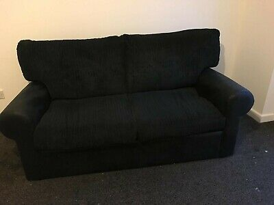 Black Fabric/leather  Sofas 3 2 Seater Sofa with pouffe