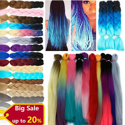 """UK Ombre Jumbo Braiding Hair Extensions Crochet Plaited Braids 24"""" Any Color Z03"""