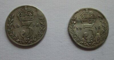 Two George V Silver Threepenny Coins 1915 and 1916