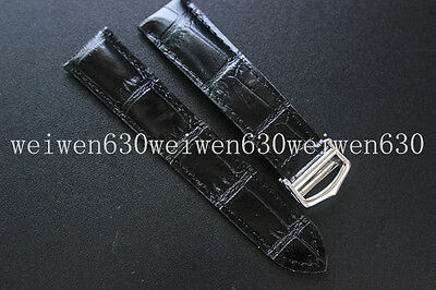 20mm black genuine Leather strap+deployant buckle For Cartier tank watch band