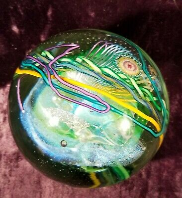 Art Glass Paperweight Dichroic Ribbons Undersea Signed 1976 Unknown Vtg Large