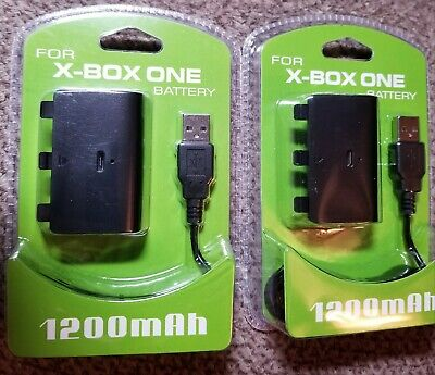 2X 1200 mah Rechargeable Battery Pack for XBOX ONE Wireless Controller USB Cable