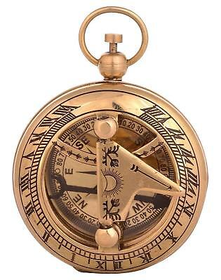 "Nautical 2"" Solid Brass Hand-Made Push Button Sundial Compass - Vintage Compass"