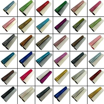 Tiny Hexagon Glitter Fabric Backed PU Leather Sheets A4 Bows Crafts Code # 012