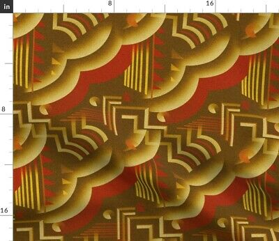 Art Deco Retro Style Red Gold 1920S Vintage Fabric Printed by Spoonflower BTY