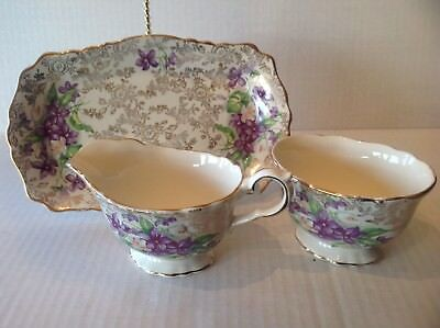 Vtg Old Foley 3 Pieces Set James Kent Creamer Sugar Bowl Tray England