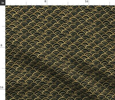 Deco Scales Gold Black Vintage 1920S Fabric Printed by Spoonflower BTY