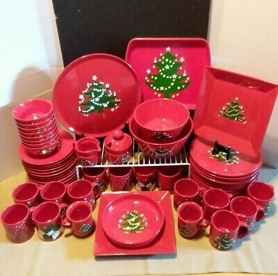 Christmas Tree by Waechtersbach ~ Germany ~ Dinnerware Set of 61~HUGE Set~Red