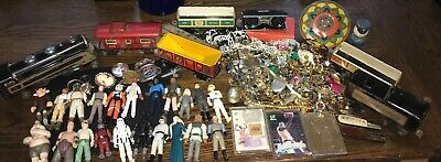 Junk Drawer Lot Vintage Trains Costume Jewelry Star Wars 1970s Figures Knives