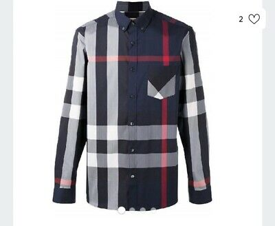 BURBERRY BRIT MEN CASUAL SHIRT NWT Navy Red Thornaby LONG SLEEVE Plaid