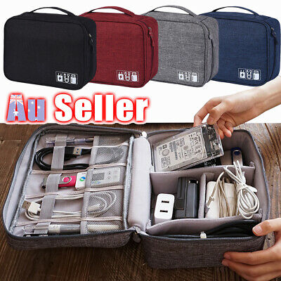 Electronic Accessories Storage USB Charger Cable Organizer Bag Travel Case AU
