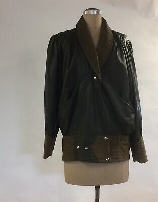Leather Jacket Vintage/ Retro 80s Olive Green Size 10 Enpointe For Winter