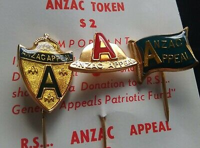 3 ANZAC APPEAL $2 Two Dollar Lapel Pins Badges by Swann & Hudson