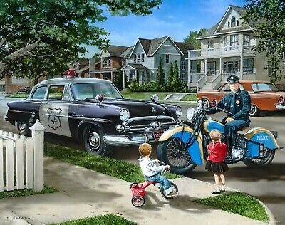 Police Car Art Print Vintage Indian Motorcycle Cop Car Wall Decor Gift MVP690
