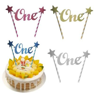 CAKE CANDLE NUMBER 1 One Glitter Blue Birthday Party Boys Cake