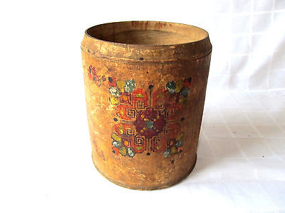 Antique Primitive Hand Carved Painted Wooden Round Cup Box For Spices