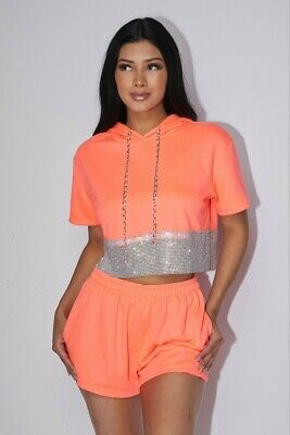 Neon Coral Rhinestone Hoodie Top w/Shorts 2pc Set, S, M, L