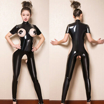 Latex Catsuit Bodysuit Ladies Club Costume Lingerie Crotchless Romper Jumpsui IO