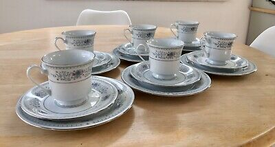 Crown ming fine Bone China 6 Piece Tea Cup Saucer And Side Plate Set