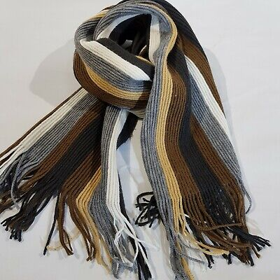Knitted Scarf Unisex Mens Womens Striped Fringed Multi-Coloured