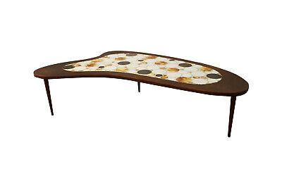 Mid Century Mosaic Tile Top Kidney Shaped Coffee Table