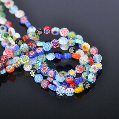 40/50/65Pcs Flower Glass Beads Oblate Millefiori Loose Spacer DIY Craft Jewelry