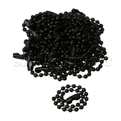20 x Black 4.72Inch Spec Iron Metal Army Dog Tag 2.4mm Dia Ball Chains for DIY