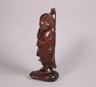 Antique Chinese Lacquered Boxwood Figure of a Standing Male Qing Dynasty