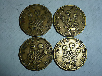 George VI Brass Three Pence coins 1937 - 1952 (free postage)