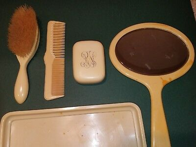 Vintage Celluloid Pale Yellow 5 Pc Dresser Set-Hand Mirror Brush Comb Soap Tray