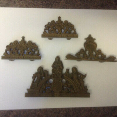 vintage dutch/german brass atlas wall clock finials / decorations  spares