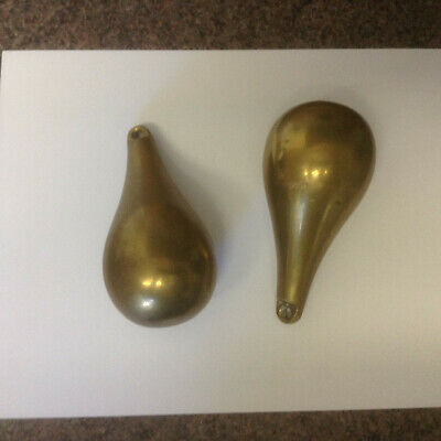 vintage solid brass heavy pear shaped clock weights approx 1kg each