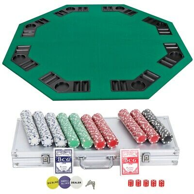 PRO Octagon Shaped Poker Table + Portable 500Pcs Chips Poker Dice Chip Card Set