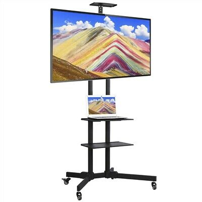 Adjustable Mobile TV Stand Mount Universal Flat Screen Rolling TV Cart 32-70""