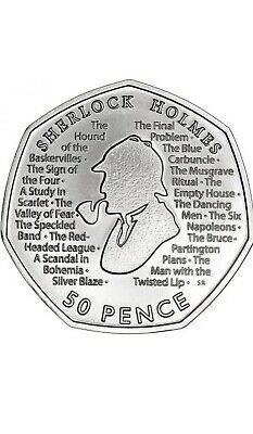 Sherlock Holmes 2019 UK 50p Uncirculated Coin RARE FROM SEALED BAG Free Postage