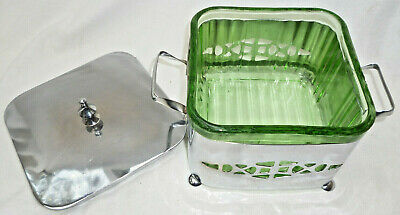 ART DECO GREEN DEPRESSION GLASS BUTTER DISH in SILVER PLATED HOLDER - vg cond.